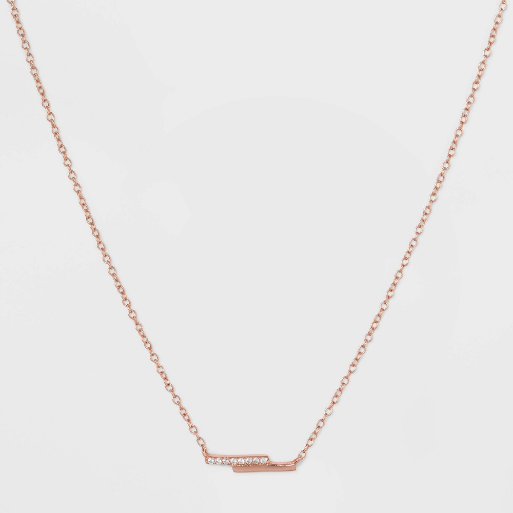 Sterling Silver Double Bar Cubic Zirconia Necklace - Rose Gold, Girl's