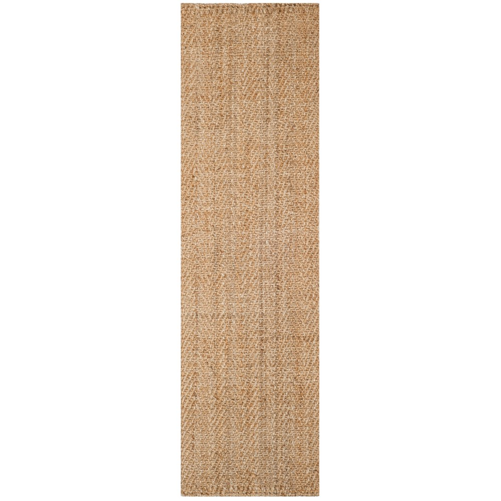 2'3X12' Woven Solid Runner Rug Natural - Safavieh, White