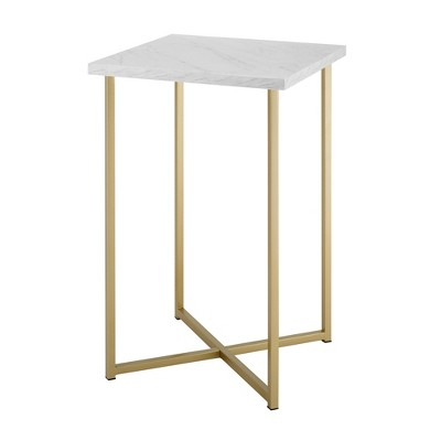 Luxe Two-Tone Glam Side Table with Marble and Metal White/Gold - Saracina Home