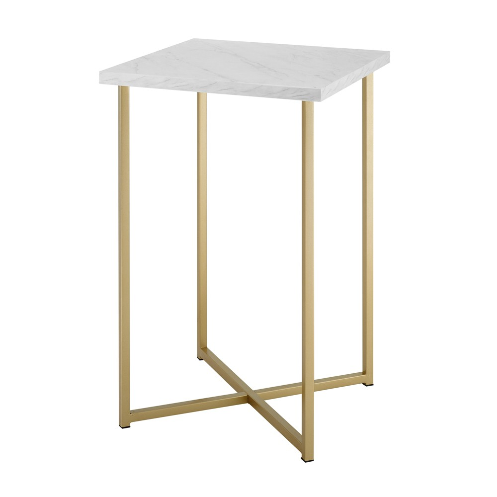 Luxe Two Tone Glam Side Table With Marble And Metal White Gold Saracina Home