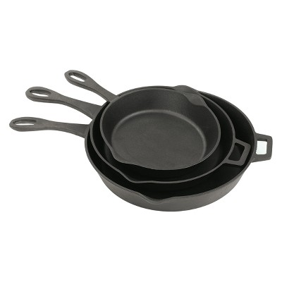 Bayou Classic Cast Iron 10, 12, 14in Cast Iron Skillet Set