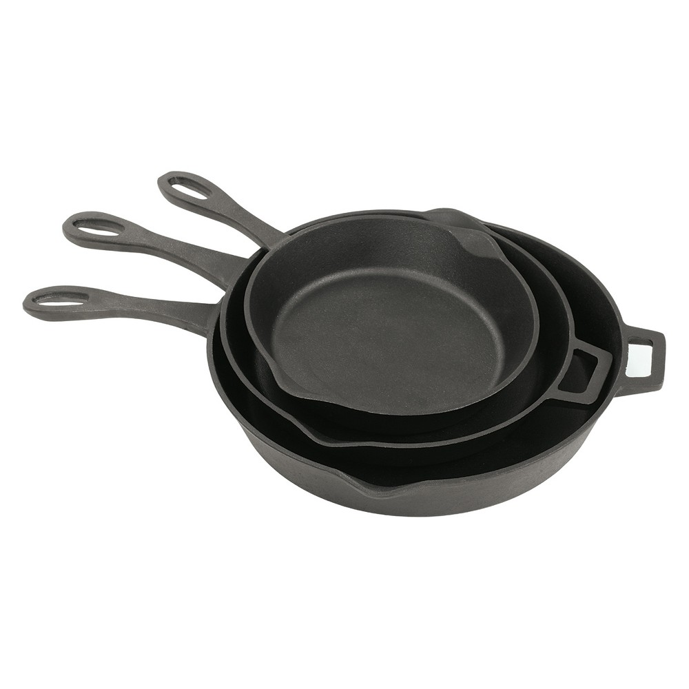 Image of Bayou Classic Cast Iron 10, 12, 14in Cast Iron Skillet Set