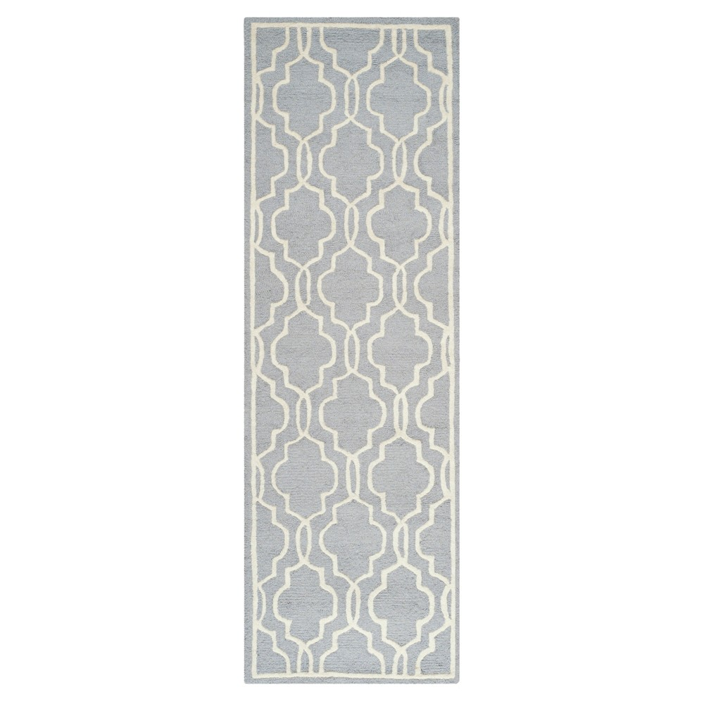 Langley Textured Rug - Silver / Ivory (2'6 X 8') - Safavieh, Silver/Ivory
