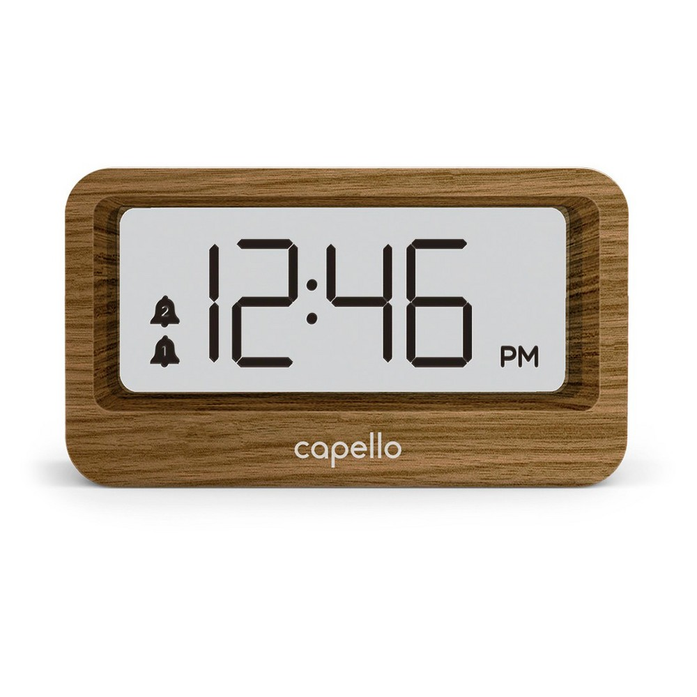 Image of Digital Alarm Clock with Usb Charger Lark Finish - Capello