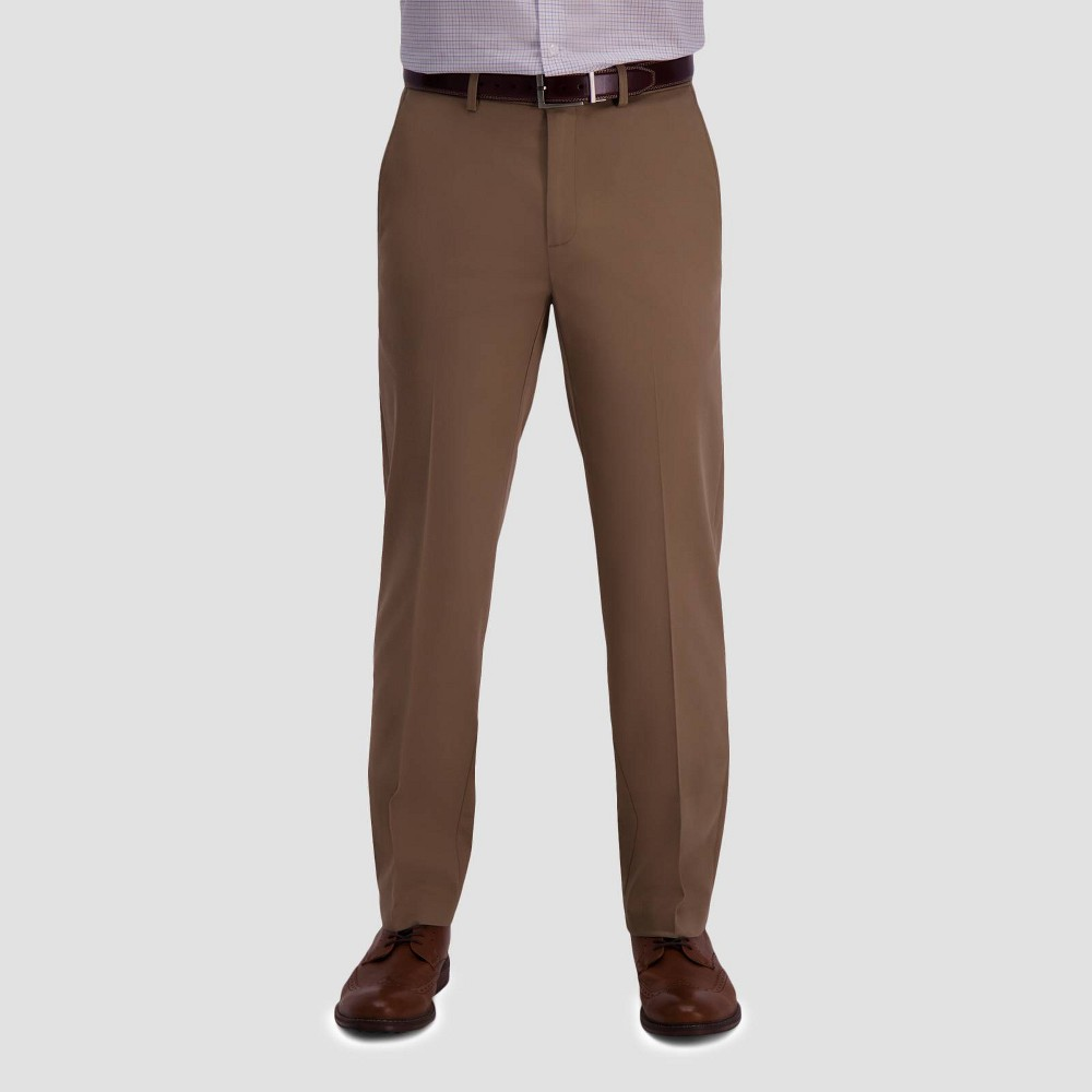 Haggar Men 39 S Premium No Iron Straight Fit Flat Front Casual Pants British Khaki 42x32