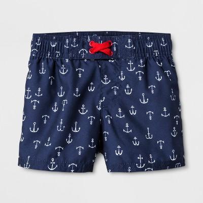 Baby Boys' Anchors Swim Trunks - Cat & Jack™ Navy 12M