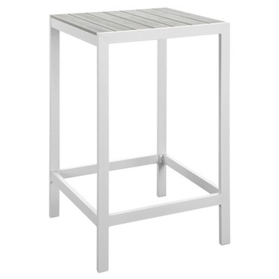 Maine Square Outdoor Patio Bar Table - White Light Gray - Modway