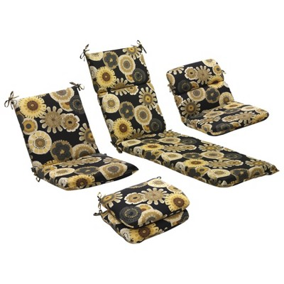 Gentil Outdoor Patio Cushion Collection   Black/Yellow Floral