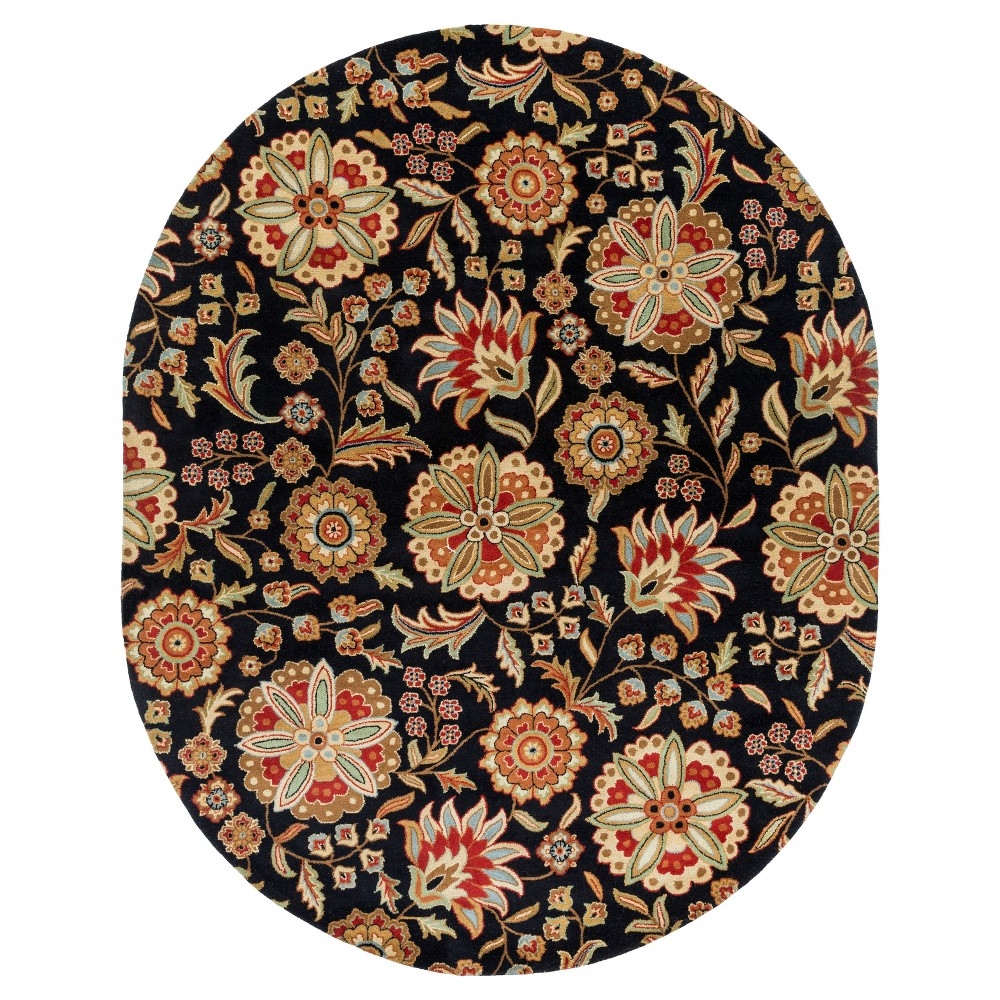 Black/Garnet (Black/Red) Alstonia Botanical Area Rug (8'x10' Oval) - Surya