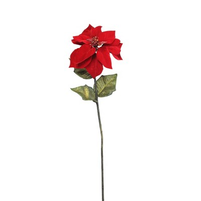 """Northlight 28"""" Red and Green Candy Artificial Christmas Poinsettia Stem"""