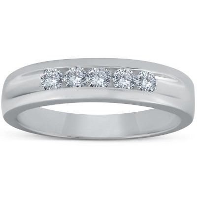 Pompeii3 1/2ct Diamond Mens Wedding Ring Channel Set High Polished Band 14K White Gold - Size 10