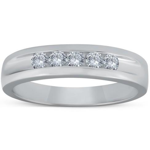 Pompeii3 1/2ct Diamond Mens Wedding Ring Channel Set High Polished Band 14K White Gold - Size 10 - image 1 of 4