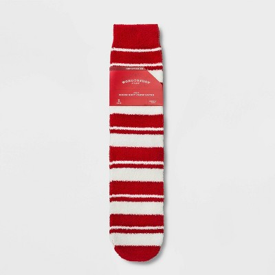 Men's Holiday Red Striped Cozy Crew Socks with Gift Card Holder - Wondershop™ Red 7-12