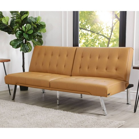 Jackson Leather Foldable Futon Sofa Bed - Camel - Abbyson Living ...