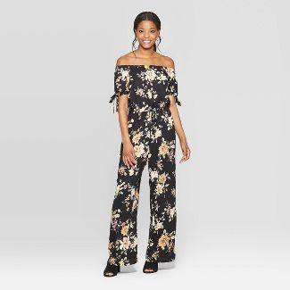 Women's Floral Print Short Tie Sleeve Off the Shoulder Jumpsuit - Xhilaration™ Black/Yellow XS