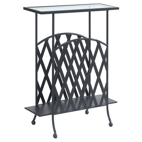 wyoming wrought iron glass top side table convenience concepts target. Black Bedroom Furniture Sets. Home Design Ideas
