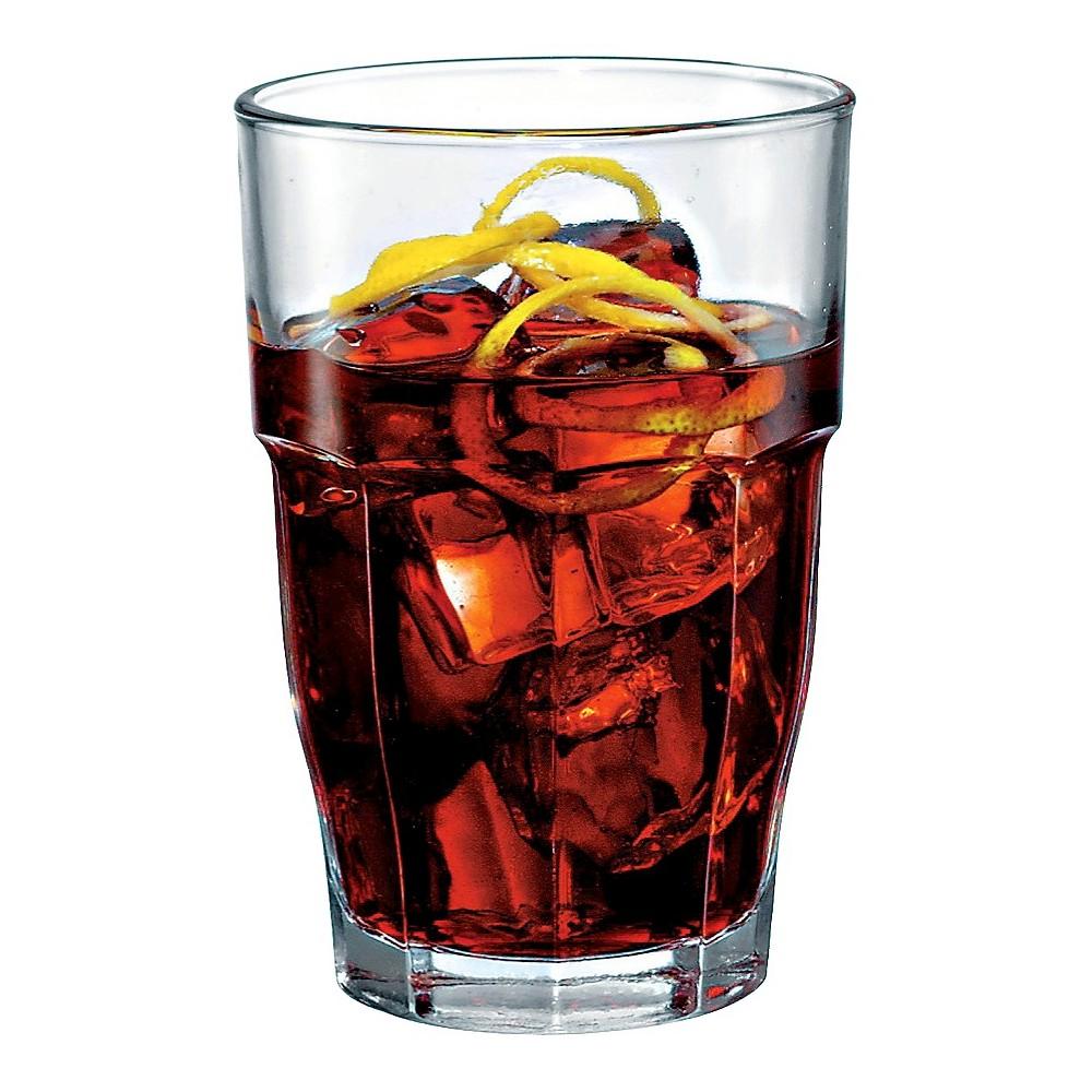 Bormioli Rocco Rock Bar Stackable Long Drink Glass 12.5oz Set of 6, Clear