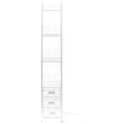 Lakeside 3-Tier Slim Metal Storage Basket Shelf Rack for Home Storage
