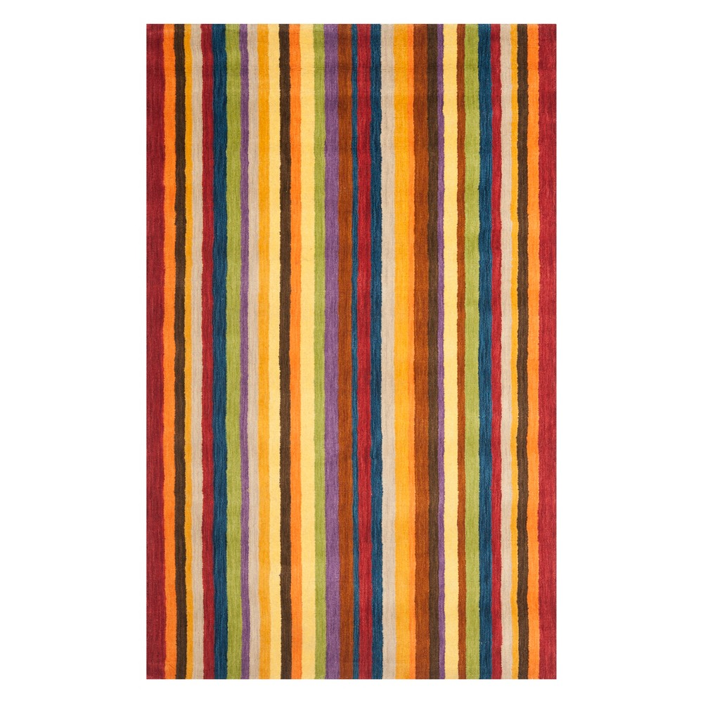 4'X6' Stripe Loomed Area Rug Red - Safavieh