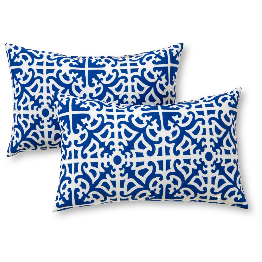 Image of Greendale Home Fashions Set of 2 Rectangle Outdoor Accent Pillows - Indigo (Blue)