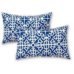 Set of 2 Lattice Outdoor Rectangle Throw Pillows - Kensington Garden