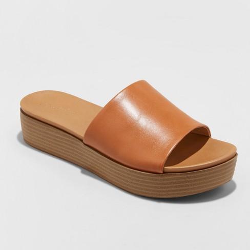 f9bfbe4d024 Women s Kenna Wood Flatform Slide Sandals - Universal Thread™   Target