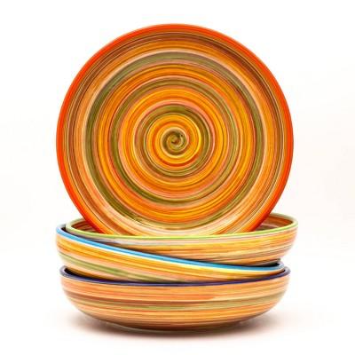 34oz 4pk Ceramic Raia Assorted Pasta Bowls Orange  - Euro Ceramica