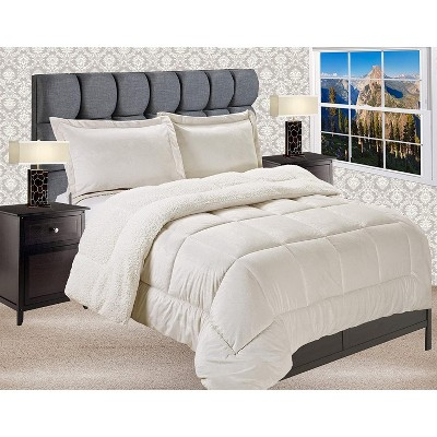 Elegant Comfort Premium Quality Heavy Weight Micromink Sherpa-Backing Reversible Down Alternative Micro-Suede 3-Piece Comforter Set.