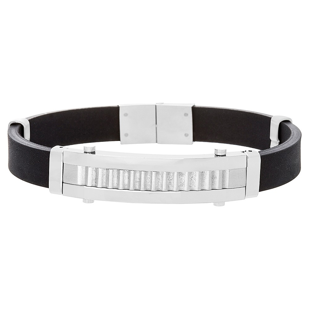 Men's Silver-Tone Stainless Steel Ribbed Station Black Leather Bracelet