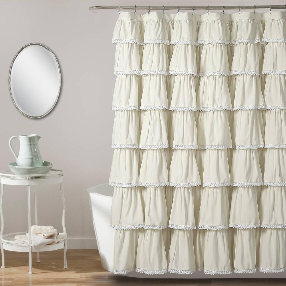 "Image of ""72""""x72"""" Ruffle Shower Curtain Ivory - Lush Décor"""