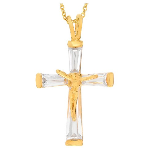 "1/2 CT. T.W. Baguette-cut CZ Pave Set Crucifix Pendant Necklace in Sterling Silver - Gold (17"") - image 1 of 2"