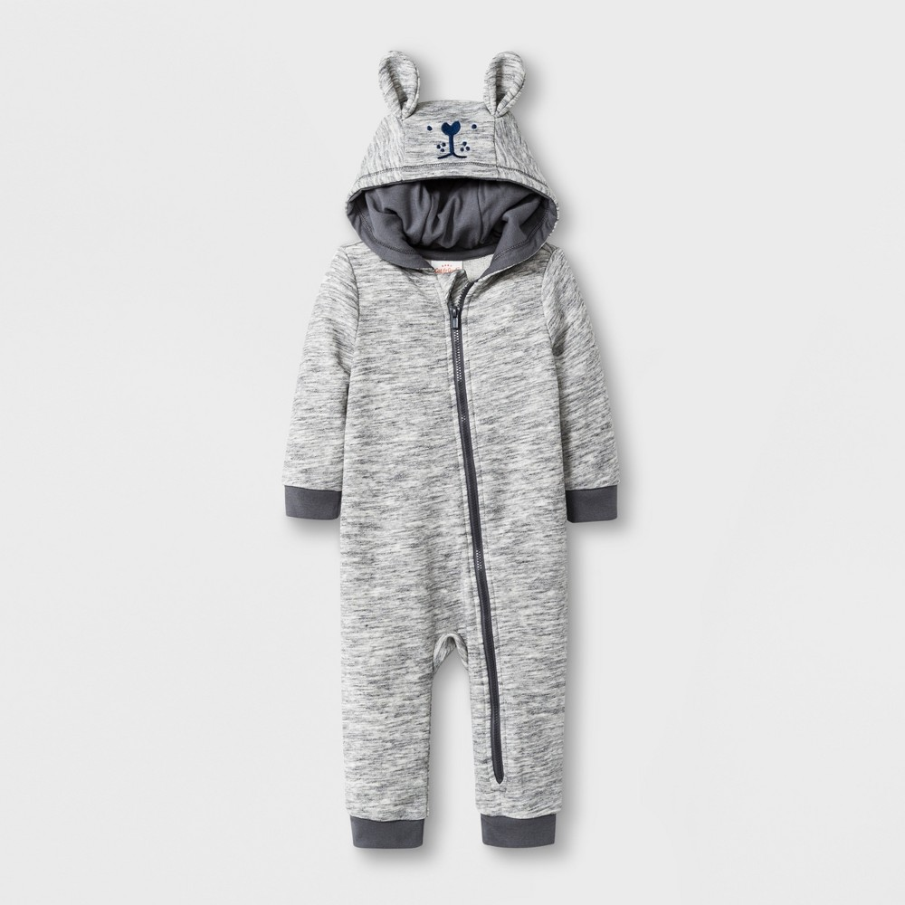 af360a118536a Baby Long Sleeve Critter Hooded Romper Cat Jack Gray 3 6M Infant Unisex