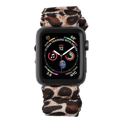 Insten Scrunchie Watch Band Compatible with Apple Watch Series SE 6 5 4 3 2 1 38mm 40mm, Elastic Fabric Wristband Strap, Fancy Bracelet,Leopard Print
