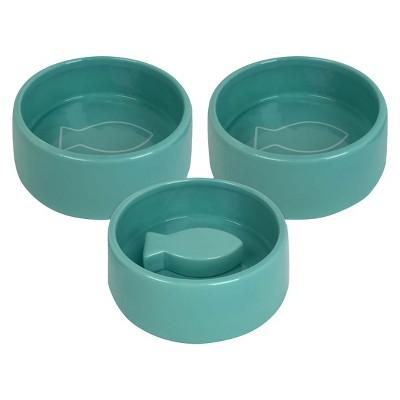 3pk Ceramic Cat Food & Water Dish Set Teal - Bullseye's Playground™