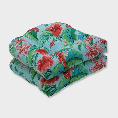2pk Tropical Paradise Wicker Outdoor Seat Cushions Blue - Pillow Perfect - image 1 of 1