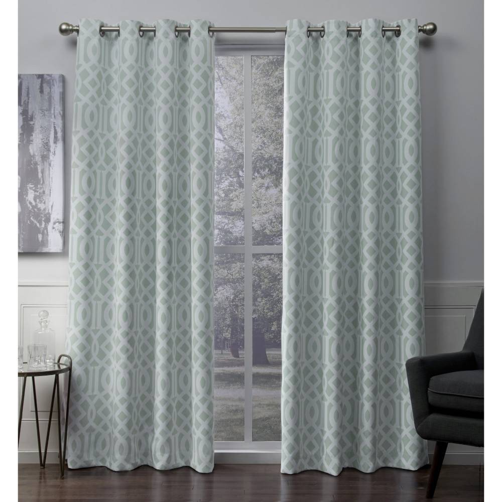 Scrollwork Gated Print Sateen Woven Room Darkening Grommet Top Window Curtain Panel Pair Seafoam (52