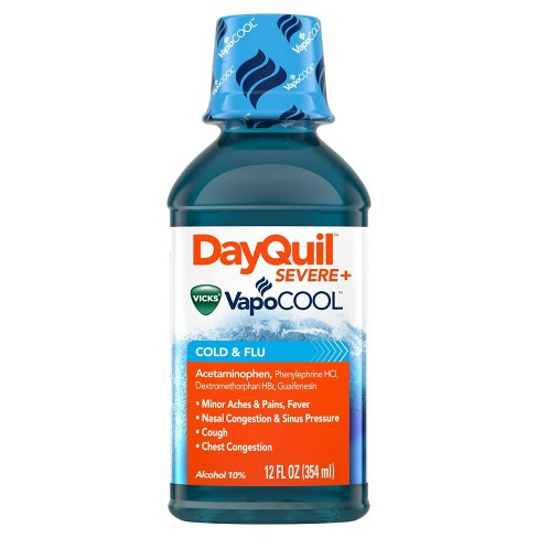 DayQuil Severe with Vicks Vapocool Cold & Flu Relief Liquid - Acetaminophen - 12 fl oz - image 1 of 4