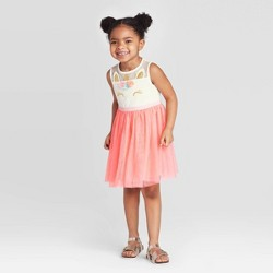 Toddler Girls' Unicorn Tulle Dress - Cat & Jack™ Coral