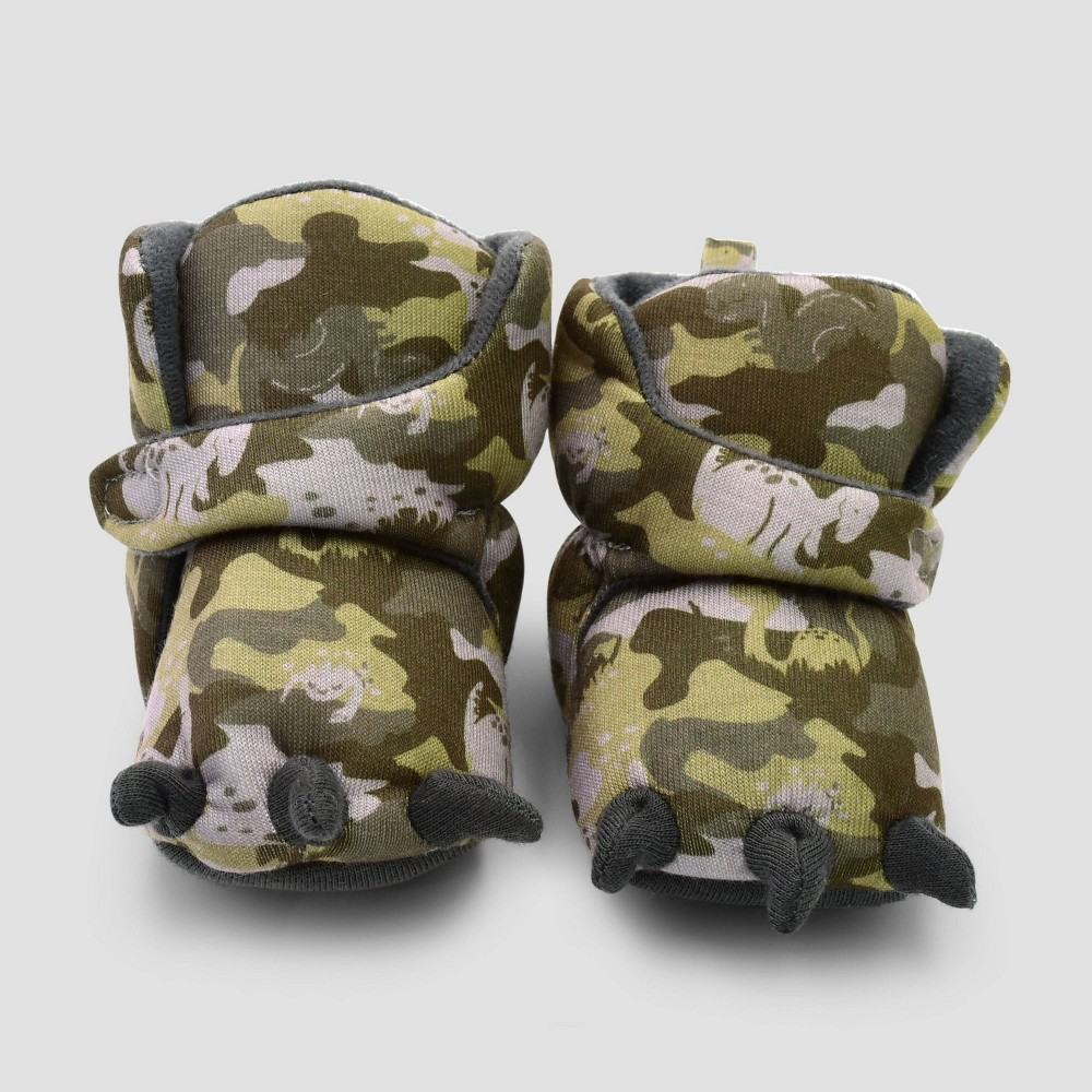 Image of Baby Boys' Dino Camo Constructed Bootie Slipper - Cat & Jack Green 0-3M, Boy's