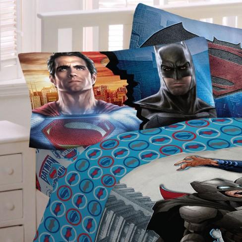 3pc Batman Vs Superman Twin Bed Sheet Set World S Finest Superheroes Bedding Accessories Dc Comics Target