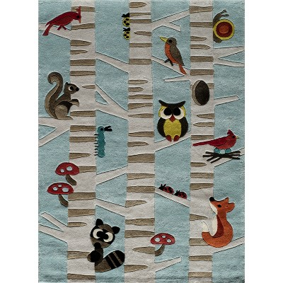 Forest Critters Accent Rug Light Blue (2'x3')