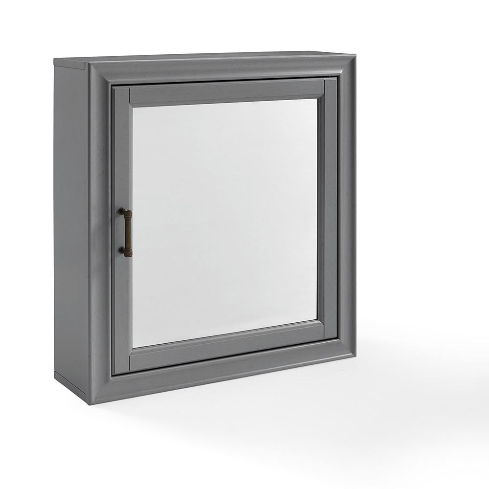Tara Bath Mirror Decorative Wall Cabinet Gray - Crosley
