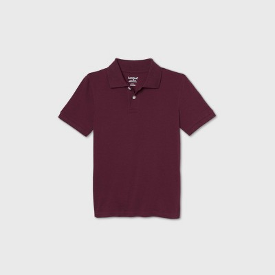 Boys' Short Sleeve Stretch Pique Uniform Polo Shirt - Cat & Jack™ Burgundy