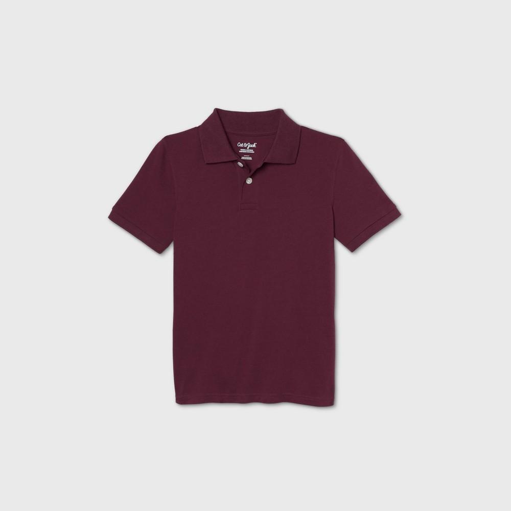 oversizeBoys Short Sleeve Stretch Pique Uniform Polo Shirt - Cat & Jack Burgundy L Husky Red