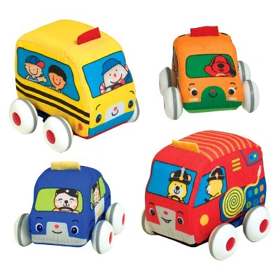 Melissa & Doug® K's Kids Pull-Back Vehicle Set - Soft Baby Toy Set With 4 Cars and Trucks and Carrying Case