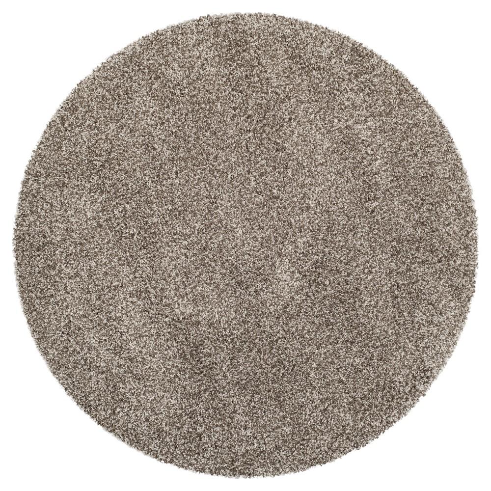 Gray Solid Shag/Flokati Loomed Round Area Rug - (5'1 Round) - Safavieh