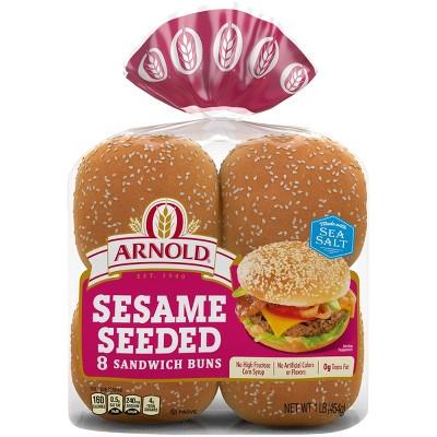Arnold Select White Sesame Buns - 14oz/8ct