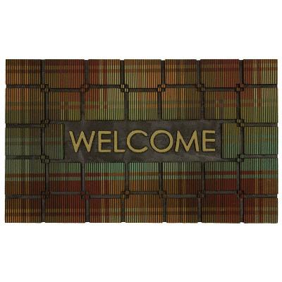 18 X30  Welcome Plaid Rubber Doormat - Mohawk
