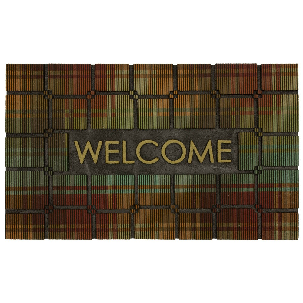 Welcome Plaid Rubber Doormat