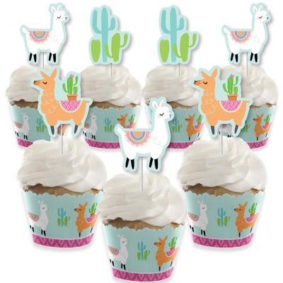 Big Dot of Happiness Whole Llama Fun - Cupcake Decoration - Llama Fiesta Baby Shower or Birthday Party Cupcake Wrappers & Treat Picks Kit - Set of 24